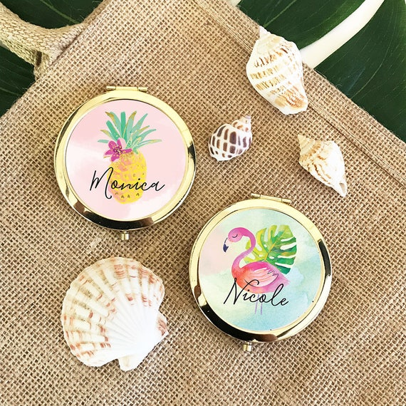 Tropical Bachelorette Party Favors - Tropical Bridesmaid Gifts Tropical Mirror Flamingo Compact Mirror Pineapple Mirror (EB3166TPB)