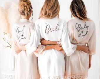 Bridesmaid Robes Bridesmaid Lace Robes Lace Bridal Robes Bridal Party Robes Satin Robes Grey & Pink Robes Lace Robes Pretty Robes (EB3260WD)