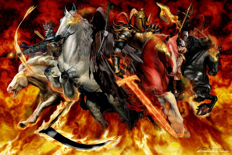 The Four Horsemen -- original signed & numbered, limited-edition print on  80lb acid-free paper by Fantasy Art Ruth Thompson