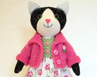 Black CatPlush toy Stuffed animal doll 10 inch (25cm) Cotton doll Handmade artist toy Hand knitted jacket Cotton dress Crystal plastic eyes
