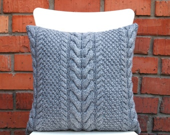 Ash Gray Cable Knit Pillow Cover. 18x18 inches 45х45cm Hand knitting. Sweater Pillow. Rustic Home Decor. Lodge Decor.