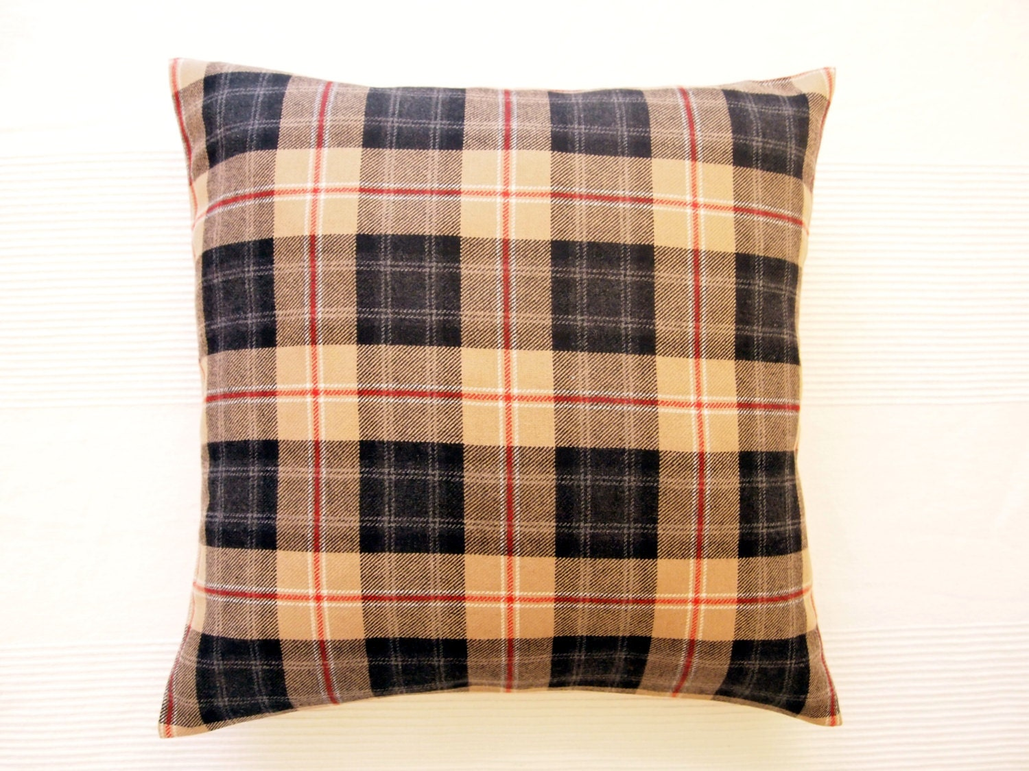 Wool Plaid Pillow Cover Beige Black Red Throw Pillows