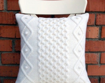 Off White Cable Knit Pillow Cover. 18x18 inches 45х45cm Hand knitting. Sweater Pillow. Rustic Home Decor. Lodge Decor.