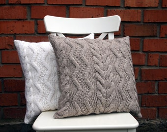 Beige Gray or Off-White Cable Knit Pillow Cover. 18х18 inches (45х45cm) Hand knitting. Sweater Pillow. Rustic Home Decor.