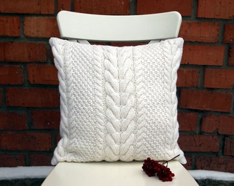 Off-White Cable Knit Pillow Cover. 18x18 inches (45x45 cm) Hand knitting. Sweater Pillow. Rustic Home Decor.