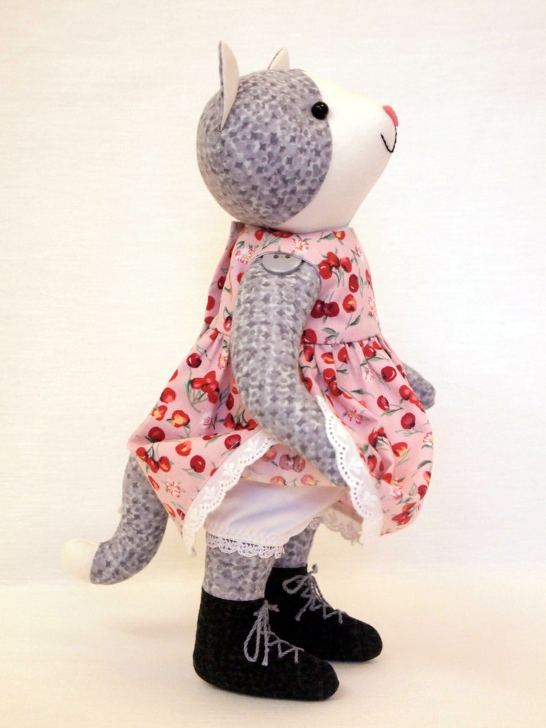 25cm Cotton doll Handmade artist toy Hand knitted jacket and cherry print cotton dress . Gray Cat Plush toy Stuffed animal doll 10 inches