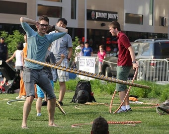6 feet Festival Hoops Weighs 6 lbs. Giant Hula Hoop for Festival Fun Fitness Collapses for carrying! Made in USA - All USA parts.