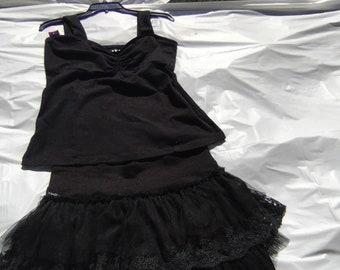 Black Hula Hooping Activewear - 5 piece set Size Large- T-shirt - Jockey Shorts with a Fluffy Butt Cover Headband, fringe Socks