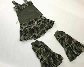Camouflage Hula Hoop Workout Suit - Activewear - 5 piece set - skirt, top, t-shirt, headband, leg covers Cotton size Large .