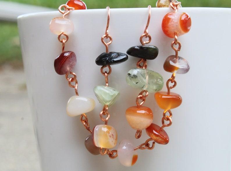 Prehnite Earrings Black Tourmaline Earring Set Carnelian Bracelet Set Handmade Jewelry Set