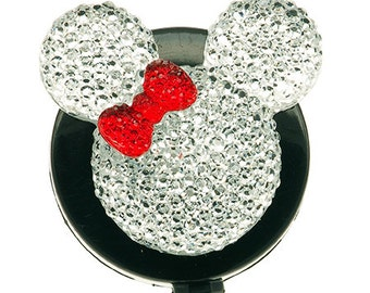 Mouse ID Badge Reel - White Mouse with Red Bow - Retractable Badge Holder