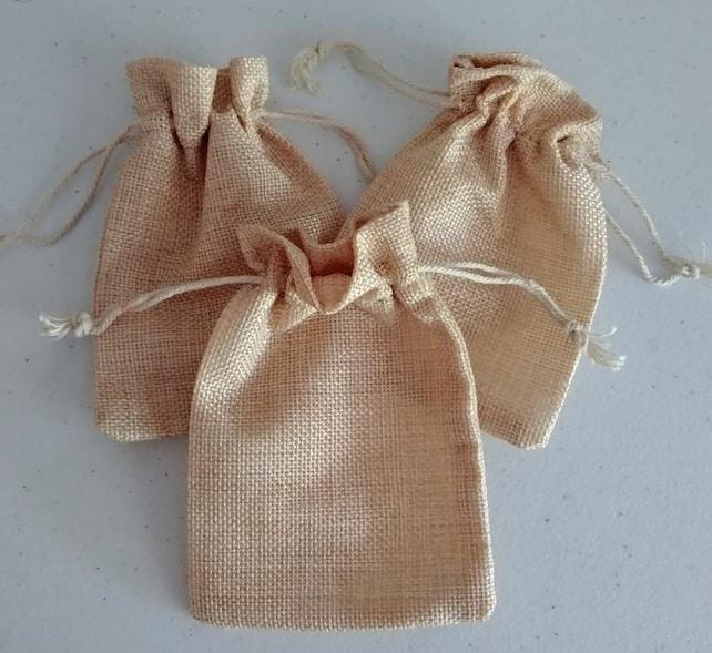 10 Burlap Gift Bags - Jute Bags - 4x5 Gift Totes