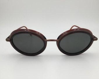 53a01867a3d74 Donna Karan Vintage Burgundy Round Metal Plastic Sunglasses Style DKS121  338 Size 52-22-135