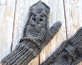 Knitted Owl Mittens. Owl Gloves.