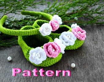 Crochet pattern Baby Booties & Headband PDF - Instant Download