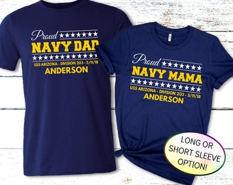 Proud Navy Mom Shirt, Personalized Navy PIR Shirt with Ship, Division & Date, Navy Family Shirt, Boot Camp Graduation Shirt, Proud Navy Dad