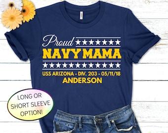 Proud Navy Mom Shirt, Proud Navy Dad, Navy PIR Shirt, Custom Navy Boot Camp Graduation Shirt with Ship, Division, Grad Date and Last Name