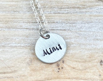 Mimi Necklace Grandma Necklace Personalized Necklace Personalized Jewelry Handstamped Necklace Custom Necklace New Grandma Gift Mimi Jewelry