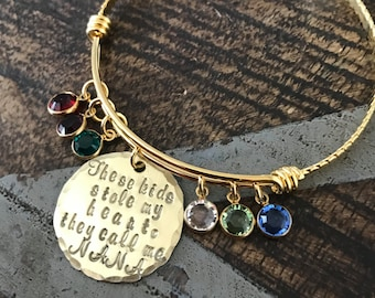 Nana Bangle Theres these kids who stole my heart Handstamped Bangle Personalize Jewelry Mothers Day Gift Grandma Jewelry Gold Bangle