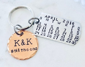 Personalized KeyChain Personalized Calendar Save the Date Calendar Couples Keychain Wedding Day Anniversary Calendar Keychain Date Keychain