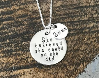 She Believe She Could So She Did Necklace Gift for Daughter Custom Necklace Inspirational Jewelry Graduation Gift Handstamped Necklace