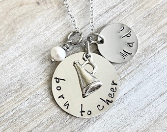 Born to Cheer Necklace Cheerleader Necklace Gift for Cheerleader Handstamped Necklace Megaphone Necklace Handstamped Jewelry cheer necklace