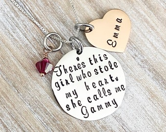 Gammy Necklace Theres this girl who stole my heart Handstamped Necklace Personalize Jewelry Mothers Day Gift Grandma Jewelry Custom Necklace