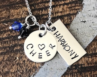 Cheer Necklace Cheerleader Necklace Gift for Cheerleader Handstamped Necklace Megaphone Necklace Handstamped Jewelry cheering necklace