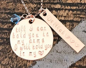 Till I can hold you in my arms I will hold you in my heart Memorial necklace Miscarriage Jewelry Stillborn Necklace Infant-Child loss Gift