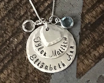Nana Necklace Sterling Silver Necklace Layered Necklace Handstamped Necklace Personalize Jewelry Grandma Jewelry Custom Necklace