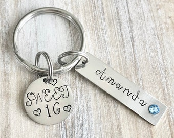 Girls 16th Birthday, Sweet 16 Keychain, Sweet Sixteenth Birthday Gift, Personalized Sweet 16 Keychain,Sweet 16 Gifts,Sweet 16 Birthday,