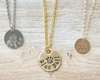 Rose Gold Dog Necklace,Paw Print Necklace,Dog Mom necklace, Pet Memorial Necklace, Gold Pet Necklace, Paw Necklace, Dog Jewelry, Gold Disc
