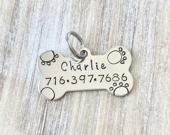 Bone Pet Tag Handstamped Dog Tag Dog ID Tag Pet Tag for Dogs Custom Dog Tag Stainless  Dog ID Tag Handstamped Pet Tag Personalized Dog Tag