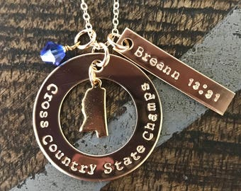 Gold Jewelry Cross Country Necklace Handstamped Necklace Personalize Running Jewelry School Team XC Track Coach Gift Varsity JV Invitational