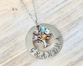 Grandma Birthstone Necklace,Mothers Day Gift, Grandma Necklace, Family Tree Birthstone,Necklace For Grandma,Grandma Necklace,Grandma Gift
