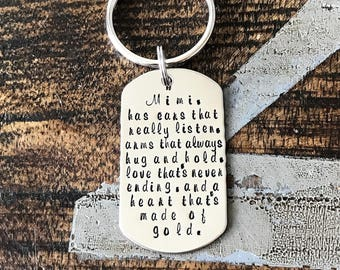 Mimi Keychain Grandma Keychain Handstamped Keychain Gift for Mom Gift for Grandma Custom Keychain Handstamped Gift Mothers Day Gift