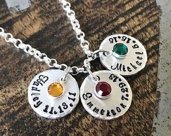 Handstamped Silver Necklace Name Necklace Birthstone Jewelry Silver Necklace Custom Necklace Birthstone Necklace Gift for Mom Mom Necklace