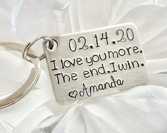 Love Keychain I Love You More The End I Win Funny Valentines Day Gift Key Ring Keychain For Men Personalised Gift Dad Husband Wife Boyfriend