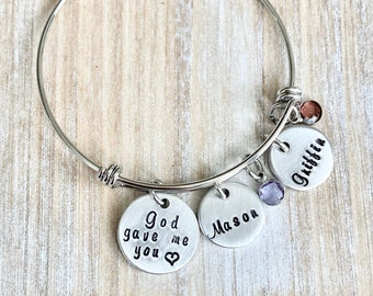 God Gave Me You Bangle Personalized Mother's Bracelet Christmas Gift for Mom Gift for Wife Mom Bangle Bracelet Religious Jewelry Mothers Day