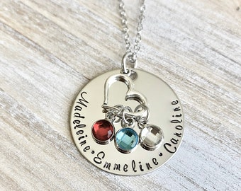 Handstamped Necklace Personalized Necklace Nana Necklace Grandma Necklace Birthstone Necklace Family Necklace Gift for Mom Mom Necklace