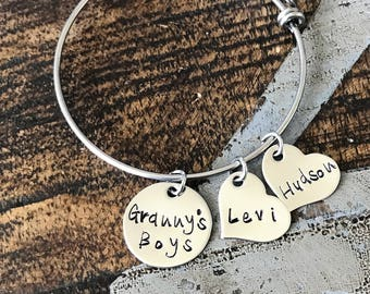 Grannys Boys Bangle Granny Bracelet Granny Bangle Grandmother Gift Mother Bracelet Charm Bracelet Adjustable Bangle Personalized Bangle