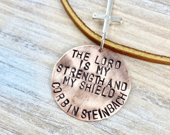 Boys Leather Necklace Boys Necklace Boys Jewelry Cross Necklace Toddler Jewelry Boy Birthday Gift Son Easter Gift Lord is my Strength
