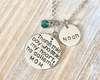 Mom Necklace Theres this boy who stole my heart Handstamped Necklace Personalize Jewelry Mother Day Gift Valentines Day Gift Custom Necklace
