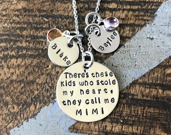 FREE SHIP USA These Kids Who Stole My Heart Necklace They Call Me Mimi Jewelry Hand Stamped Gift For Mimi Custom Necklace Gift for Mom