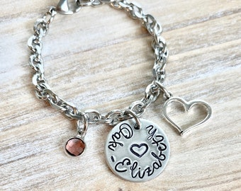 Girls Charm Bracelet Handstamped Bracelet Heart Bracelet Personalized Bracelet Charm Bracelet Bracelet for Girl Birthstone Jewelry Birthday