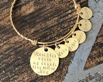 These kids stole my heart Gold Mom bangle Nana bangle Grandma bracelet Handstamped Jewelry Adjustable Bangle Name Bracelet Gift for Mom
