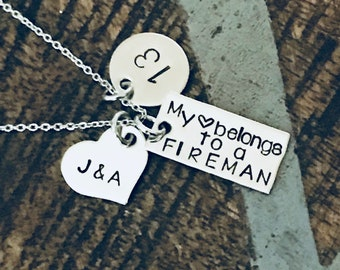 Fireman Necklace Firefighter Necklace Firemans Wife Necklace Personalized Firefighter Necklace Badge Number Necklace Firefighter Wife Gift