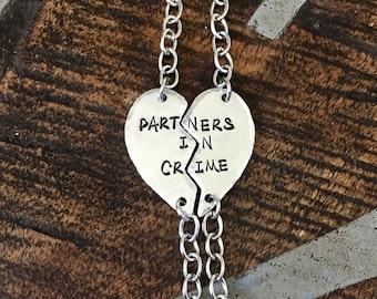 Silver PARTNERS IN CRIME bracelets best friends bracelet broken heart set friendship bracelet Christmas gift best girls jewelry Friend Gift