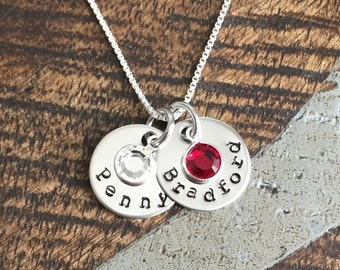 Handstamped Silver Necklace Name Necklace Birthstone Jewelry Silver Necklace Custom Necklace Birthstone Necklace Gift for Mom Mom Necklace