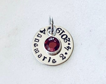 Stamped Disc Add On Additional Charm Round Disc Addon Disc with Name Disc with Birthstone Additional Disc Birthstone Disc Circle Tag